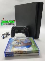 Playstation 4 Slim 500gb / 1 Controle Original / Cabos / 1 Jogo de Brinde