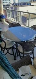 Mesa redonda vime sintetico e 4 cadeiras