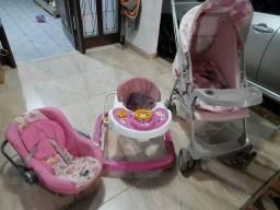 Carrinho burigoto +andador +bebê conforto feminino