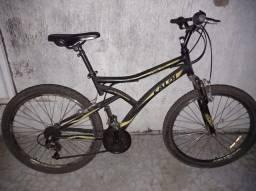 Bicicleta caloi semi nova, preto e amarelo com marcha