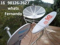 Instalação Antenas Sky(43w) Claro(70w) Amazonas(61w) Telstar963w) só 70,00