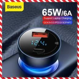 Carregador Veicular Baseus Turbo 65w Pd Tipo C + USB
