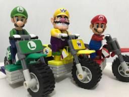 Blocos de montar 3 Motos Mario Luigi Wario