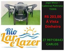 Cadeira Plástico Poltrona + Mesa 70x70 ( Conjunto C/ Braço )