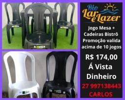 Jogo Mesa e Cadeiras Plásticas Bistrô