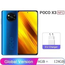 Celular Xiaomi Poco X3 NFC Azul 6/128GB + Fones Xiaomi Original Lacrado