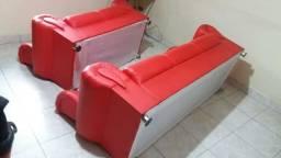 Sofa 2 e 3 lugares couro sintético vermelho