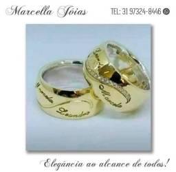 Promoção dia das mães, aliança moeda antiga, ouro 18k e prata