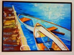 Quandro - Pintura - Tela 70x50 com moldura - canoas
