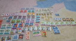 Lote selos de carta Bolívia/Caribe bem antigo