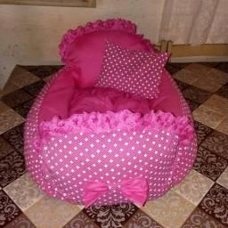 Cama de cachorra rosa