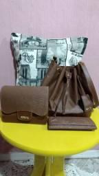 Kit bolsa saco, bolsa lateral e carteira