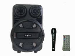 Caixa de Som Bluetooth Inova Usb Rádio Fm Aux e Microfone