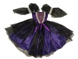 Fantasia Bruxa Halloween Vestido Infantil Luxo Menina c/ Tiara