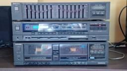 Equipamento de Som Technics Receiver, Equalizador, Tape Deck Duplo
