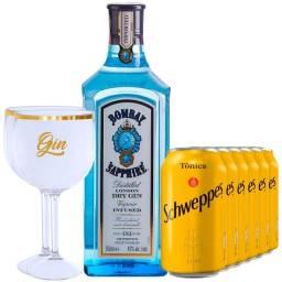 Gin Bombay Saphire 750ml + 6 Água Tônica + 2 Taças