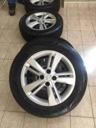 """Rodas Nissan 16"""" + calotas (sem pneus) Kicks Versa March"""
