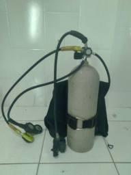 Equipamento de mergulho, cilindro, colete, respirador