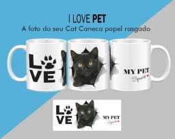 Caneca Cerâmica Gato Efeito Papel Rasgado/raças Cat