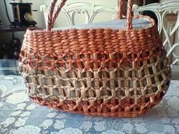 Bolsa em palha artesanato - moda usual para praia,campo e cidade