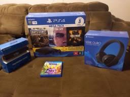 Título do anúncio: Playstation 4, com câmera e headset gold