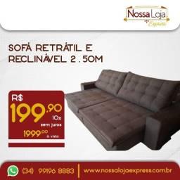 Sofá retrátil e reclinável grande 2,5m lindo e macio