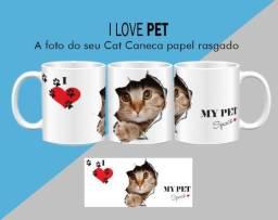 Caneca Cerâmica Gato Efeito Papel Rasgado/raças Cat Love