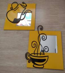 Quadro Espelhado Café em Mdf Vazado 6mm