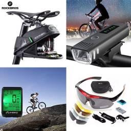 Bolsa Para Selim - Farol Com Sensor - Ciclo Computador - Óculos de Proteção - Ciclistas