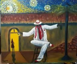 """""""Zé sob Céu Estrelado"""" Pintura a óleo. Decoração."""