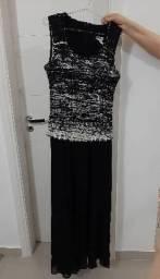 Vestido de festa sem manga preto e branco EXG
