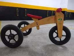 Triciclo-bicicleta de madeira para crianças(3 em 1)