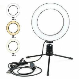 Ring light USB com tripé e luz led soft branca de nude