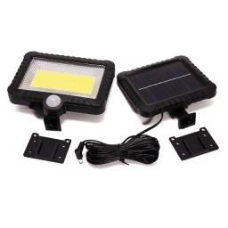 Holofote Luminária Solar Cob 30w 100led Solar Para Jardim Uso Externo e Segurança Noturna