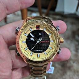 Relógio Masculino Dourado Naviforce 9093 Original Importado