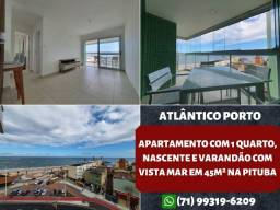 Atlântico Porto, 1 quarto, nascente e com vista mar em 45m² na Pituba - Maravilhoso