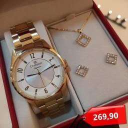 Título do anúncio: Relógio Feminino Dourado Champion + Semijoia Original Barato