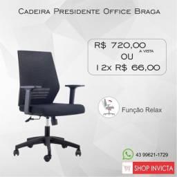 Cadeira Presidente Office Braga s/ Encosto de Cabeça Base Nylon / Nova / NFE