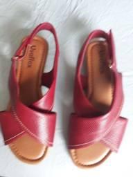 Sandalia Usaflex rasteirinha vermelha tam 36