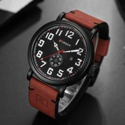Relógio Masculino Curren Analógico 8283 Militar Retrô - Vermelho e Preto