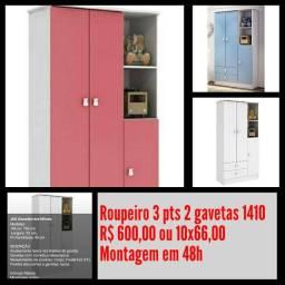 Roupeiro 3 pts 2 gavetas 1410/ Montagem Grátis.
