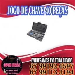 Kit Chaves Maleta Jogo Catraca Reversível Cachimbo Pito 40 Peças