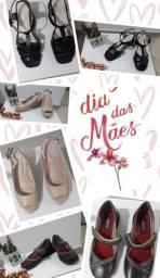 Kit 3 sapatos novos de couro de marca - presente dia das mães