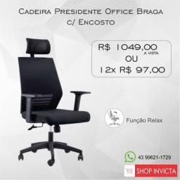 Cadeira Presidente Office Braga c/ Encosto de Cabeça base Nylon / Nova / NFE
