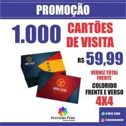 1.000 Cartões de Visita - Coloridos Frente e Verso - Verniz Total Frente