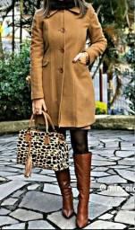 Bota Vimar Boots Feminina Couro Bico Fino Cano Longo Café