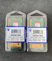 Memória Kingston 4GB, 1600MHz, DDR3, Notebook, CL11 - KVR16S11S8/4