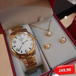 Título do anúncio: Kit Relógio Feminino Dourado Champion Original Barato