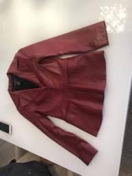 Jaqueta de couro legítimo feminina tamanho pp
