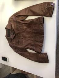 Jaqueta de couro legítimo feminina tamanho m